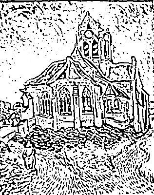 Vang Gogh. la iglesia de Auvers Dibujo