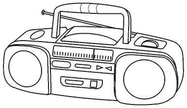 medios de comunicación para colorear : transistor y radio