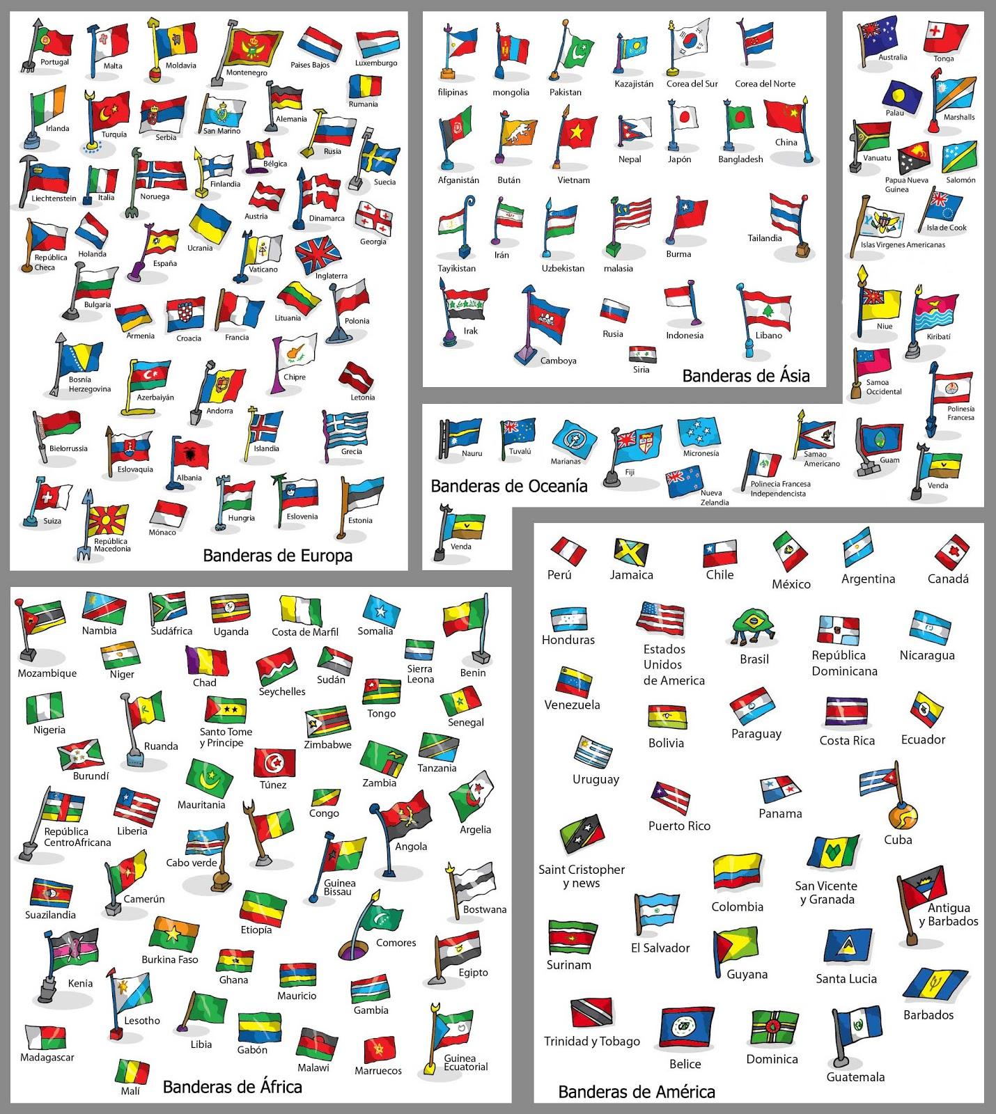 las banderas del mundo y sus nombres