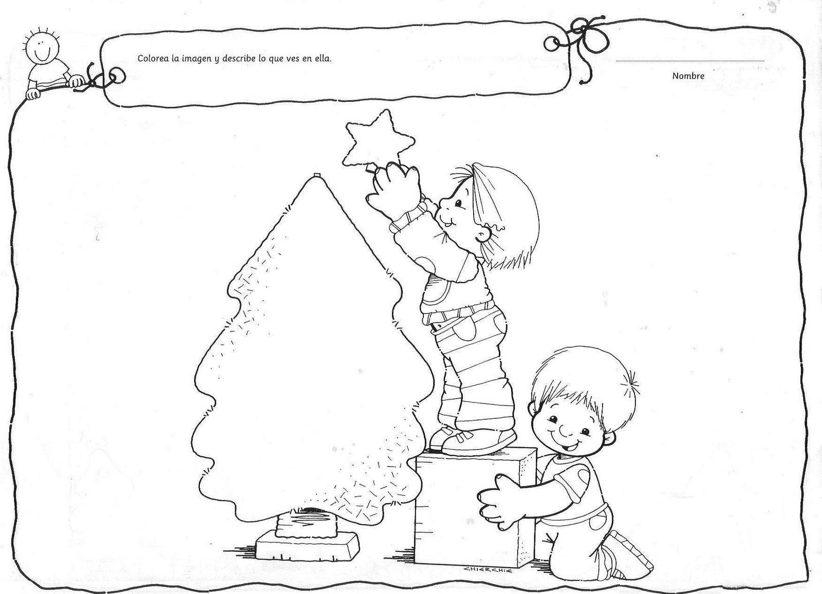 Fichas De Dibujos De Navidad.Ficha Para Pintar Y Describir De Navidad Fichas Para Pintar
